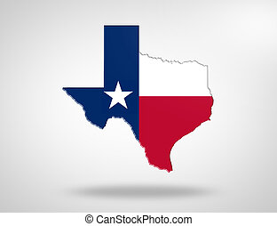 Map with the flag of US State Texas