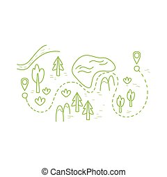 Map With The Hiking Route Hand Drawn Childish Illustration ...