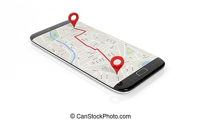 Map with two red pointers marking route set on smartphone screen, isolated on white