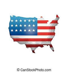 map with united state of american flag