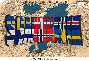 Map, word and flags of Scandinavia on the background of the political map of the world
