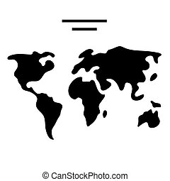 map world icon, vector illustration, black sign on isolated background
