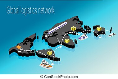 Map world isometric concept. 3d flat illustration