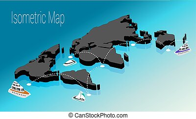 Map world isometric concept. 3d flat illustration