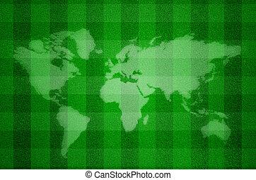 Map world on Artificial green grass field