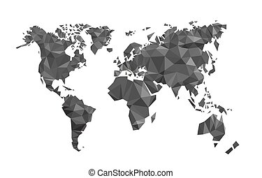 Map world polygon on a white background, Vector illustration