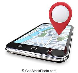 map., wskazówka, czerwony, gps