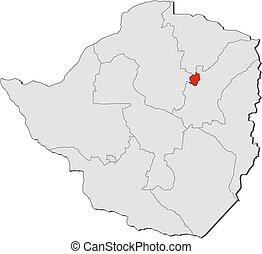 Map - Zimbabwe, Harare