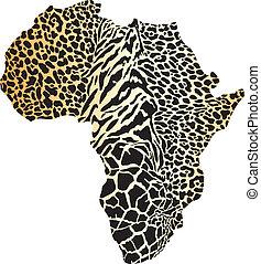 mapa, áfrica, camuflaje, guepardo