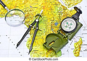 mapa, áfrica, compasso