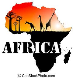 mapa, áfrica, ilustración