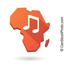 mapa, áfrica, nota, música, continente, ícone