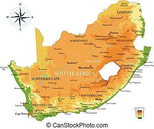 mapa, áfrica, sul, físico