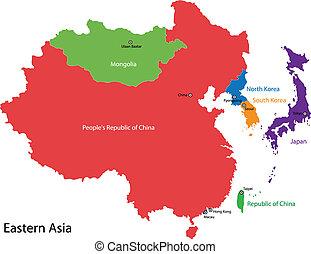 mapa, ásia, oriental