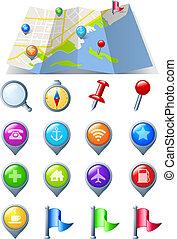 mapa, ícone, navegação, pacote