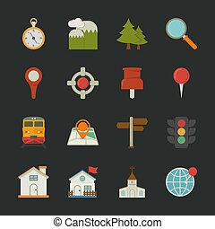 mapa, ícones, apartamento, desenho, localização