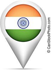 mapa, índia, ilustração, bandeira, vetorial, ponteiro, shadow.