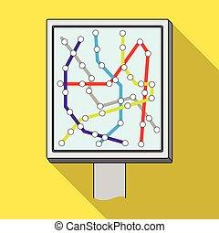 mapa, único, ícone, em, apartamento, style.map, vetorial, símbolo, ilustração acionária, web.