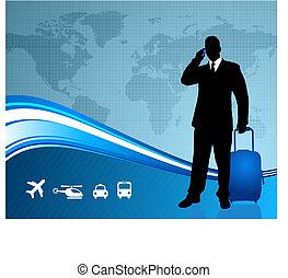 mapa, świat, biznesmen, tło, podróżnik