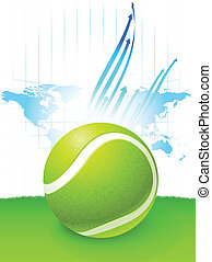 mapa, świat, piłka, tło, tenis