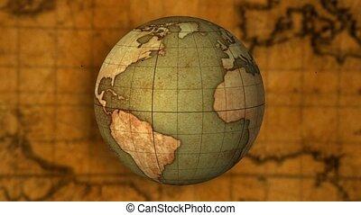 mapa, świat, stary