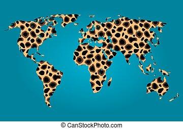 mapa, świat, wypełniony, gepard, próbka