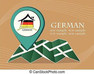 mapa, 10, alemão, eps, ilustração, bandeira, vetorial, ponteiro