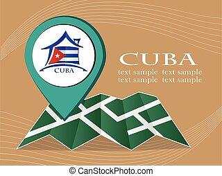 mapa, 10., cuba, eps, ilustração, bandeira, vetorial, ponteiro