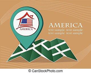 mapa, 10, eps, ilustração, bandeira, vetorial, américa, ponteiro