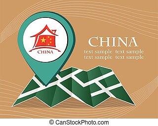 mapa, 10, eps, ilustração, bandeira, vetorial, china, ponteiro