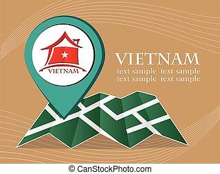 mapa, 10., eps, ilustração, bandeira, vetorial, ponteiro, vietnã