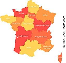 mapa, 13, ciepły, metropolita, okolice, podzielony, since, ilustracja, francja, wektor, colors., 2016., administracyjny