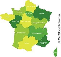 mapa, 13, metropolita, okolice, podzielony, since, duchy, ilustracja, francja, cztery, wektor, 2016., green., administracyjny