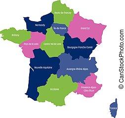 mapa, 13, metropolita, okolice, podzielony, since, ilustracja, francja, cztery, wektor, colors., 2016., administracyjny