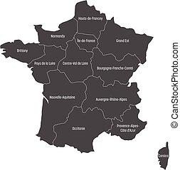 mapa, 13, metropolita, okolice, podzielony, since, szary, ilustracja, francja, wektor, 2016., administracyjny