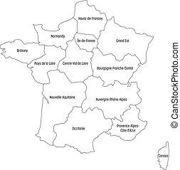 mapa, 13, szkic, metropolita, okolice, podzielony, since, duchy, ilustracja, francja, cztery, wektor, 2016., green., administracyjny