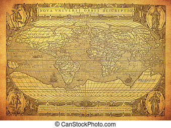 mapa, 1602, mundo, vindima