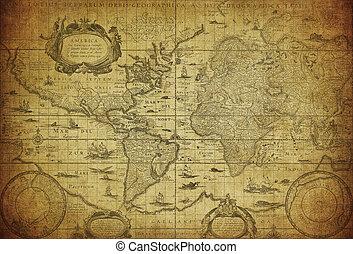 mapa, 1635, mundo, vindima