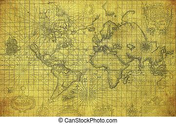 mapa, 1657, mundo, vindima