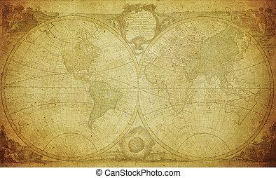mapa, 1744, mundo, vindima