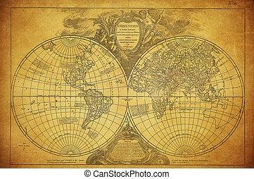 mapa, 1752, mundo, vendimia