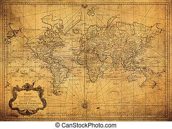 mapa, 1778, mundo, vendimia