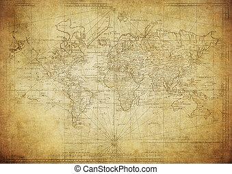 mapa, 1778, mundo, vindima