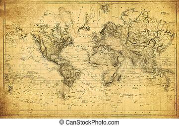 mapa, 1831, mundo, vindima