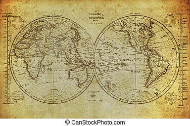mapa, 1839, mundo, vendimia