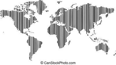 mapa, 2, świat, barcode