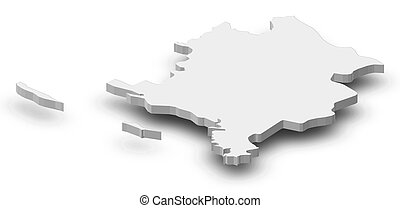 mapa, 3d-illustration, -, sibenik-knin, (croatia)