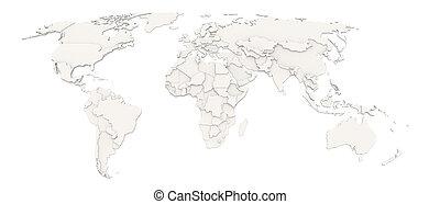 mapa, 3d, mundo