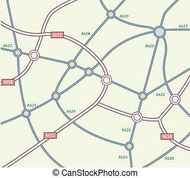 mapa, abstratos, estrada