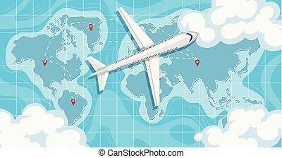 mapa, acima, avião